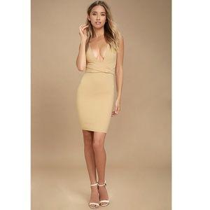 * Lulu's Nude Bodycon Night Out Sexy Mini Dress S